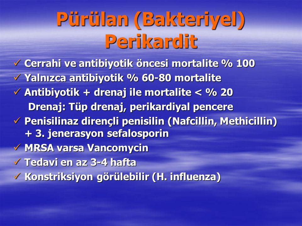 Pürülan (Bakteriyel) Perikardit Cerrahi ve antibiyotik öncesi mortalite % 100 Cerrahi ve antibiyotik öncesi mortalite % 100 Yalnızca antibiyotik % 60-