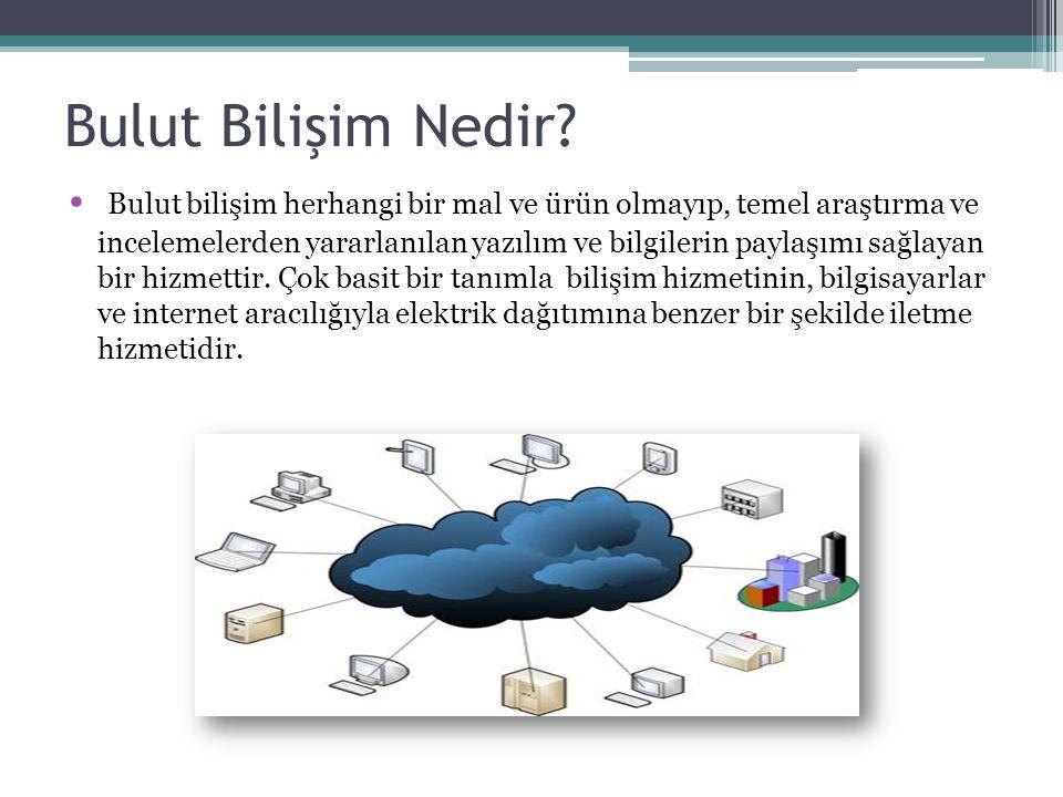 Bulut Bilişimin Çalışma Şekli Bulut Bilişim Programlama dinamik olarak ölçeklenebilir ve çoğu kez sanallaştırılmış kaynakların servis olarak internet üzerinden sunulmasıdır.