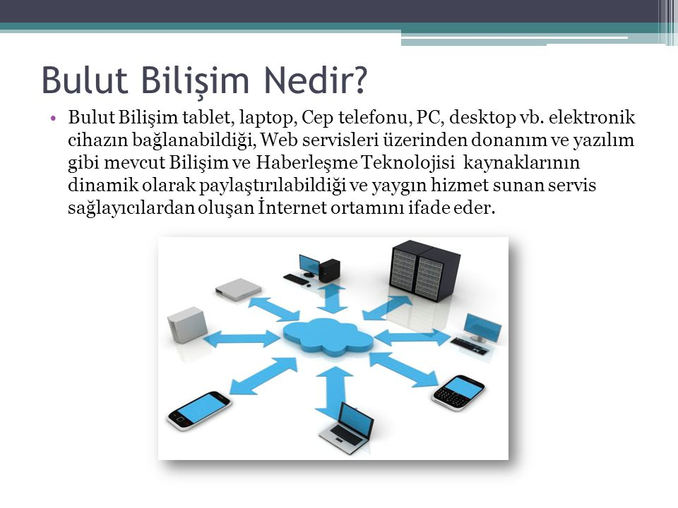 Bulut Bilişim Nedir.Bulut Bilişim tablet, laptop, Cep telefonu, PC, desktop vb.