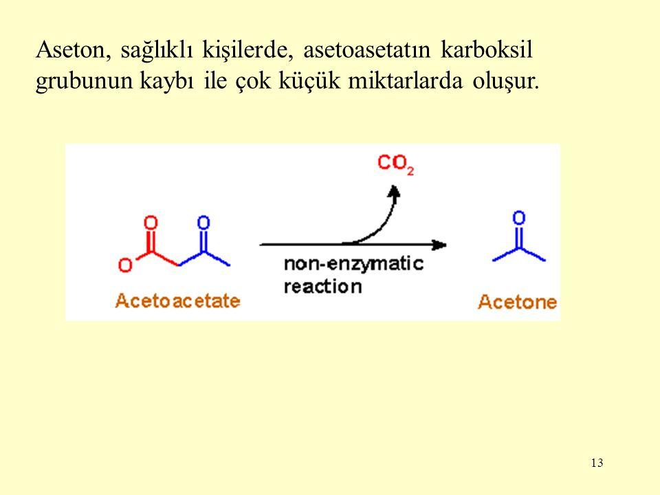 13 Aseton, sağlıklı kişilerde, asetoasetatın karboksil grubunun kaybı ile çok küçük miktarlarda oluşur.