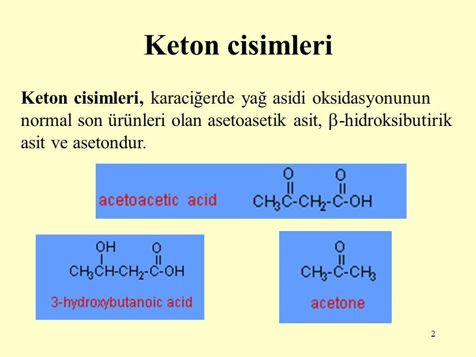 2 Keton cisimleri Keton cisimleri, karaciğerde yağ asidi oksidasyonunun normal son ürünleri olan asetoasetik asit,  -hidroksibutirik asit ve asetondu