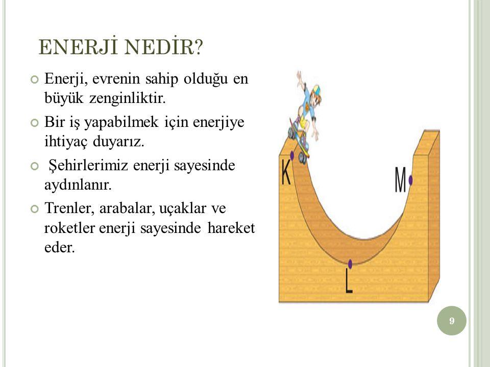 ENERJİ ÇEŞİTLERİ 1.Kinetik Enerji Hareket eden varlıklar kinetik enerjiye sahiptir.