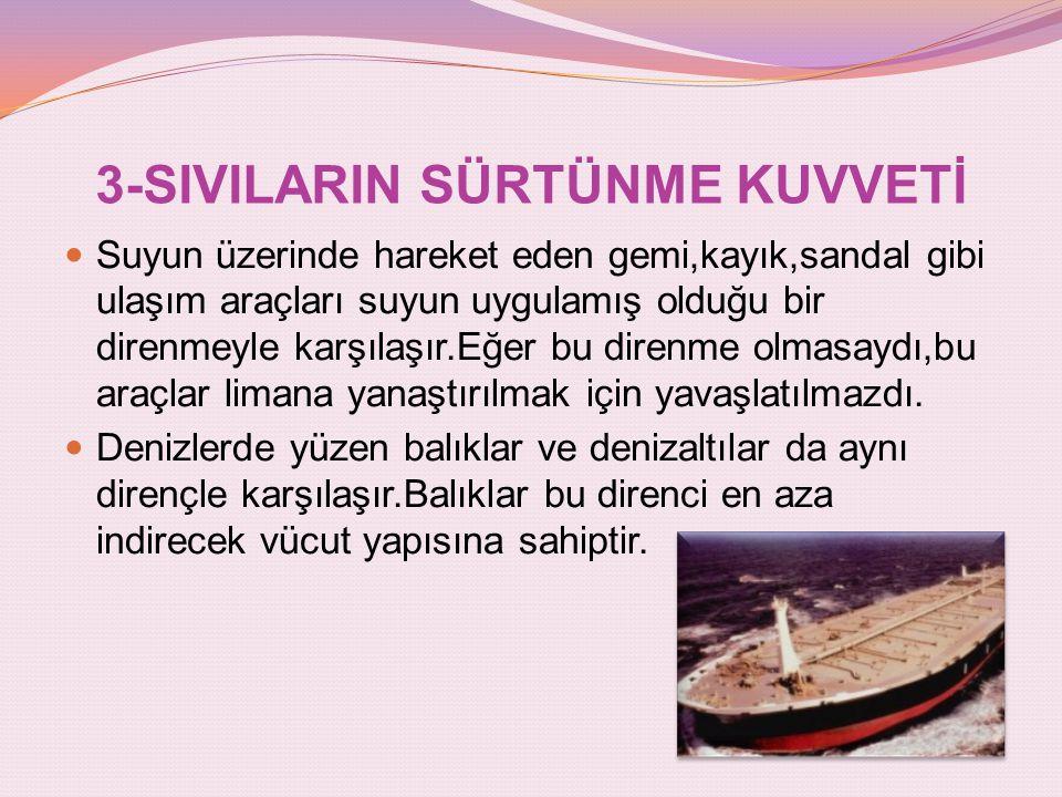 3-SIVILARIN SÜRTÜNME KUVVETİ Suyun üzerinde hareket eden gemi,kayık,sandal gibi ulaşım araçları suyun uygulamış olduğu bir direnmeyle karşılaşır.Eğer