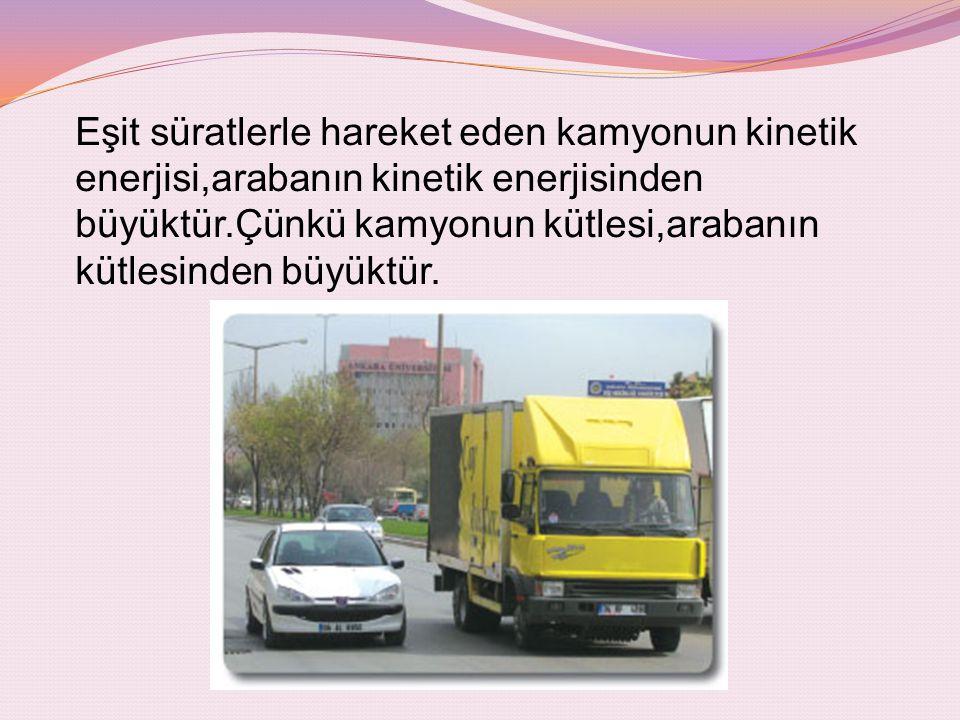 Eşit süratlerle hareket eden kamyonun kinetik enerjisi,arabanın kinetik enerjisinden büyüktür.Çünkü kamyonun kütlesi,arabanın kütlesinden büyüktür.