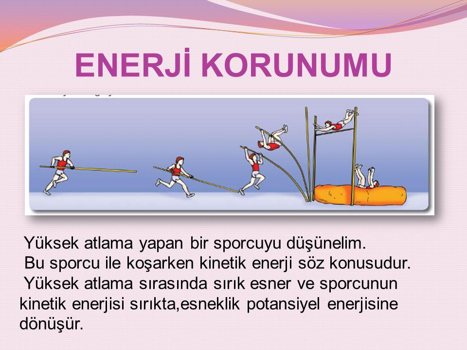 ENERJİ KORUNUMU Yüksek atlama yapan bir sporcuyu düşünelim. Bu sporcu ile koşarken kinetik enerji söz konusudur. Yüksek atlama sırasında sırık esner v