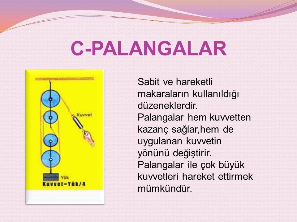 C-PALANGALAR Sabit ve hareketli makaraların kullanıldığı düzeneklerdir. Palangalar hem kuvvetten kazanç sağlar,hem de uygulanan kuvvetin yönünü değişt