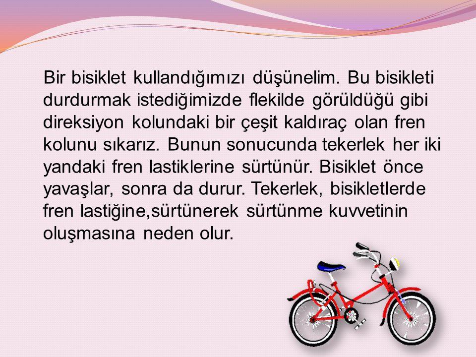 Bir bisiklet kullandığımızı düşünelim. Bu bisikleti durdurmak istediğimizde flekilde görüldüğü gibi direksiyon kolundaki bir çeşit kaldıraç olan fren