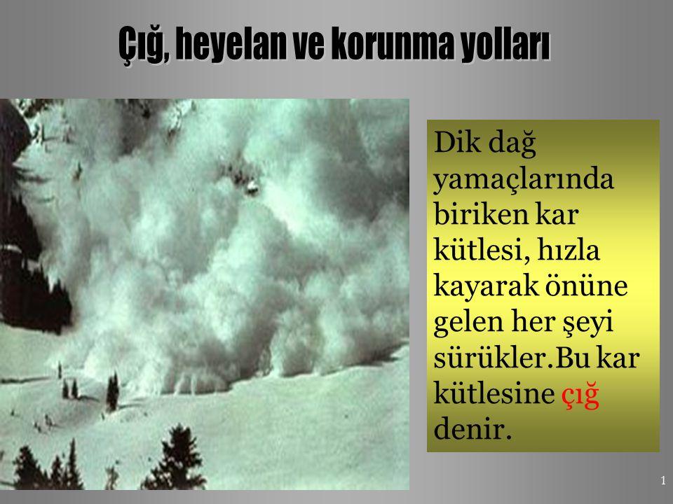4/16/20151 Dik dağ yamaçlarında biriken kar kütlesi, hızla kayarak önüne gelen her şeyi sürükler.Bu kar kütlesine çığ denir.
