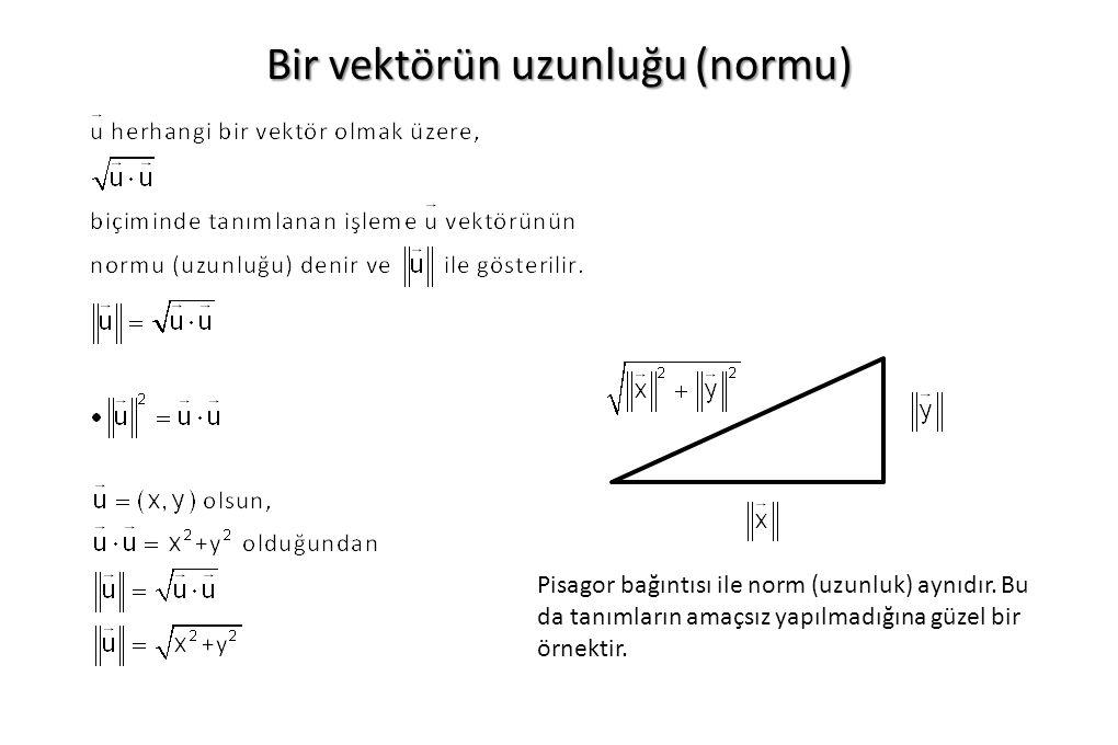 Bir vektörün uzunluğu (normu) Pisagor bağıntısı ile norm (uzunluk) aynıdır. Bu da tanımların amaçsız yapılmadığına güzel bir örnektir.
