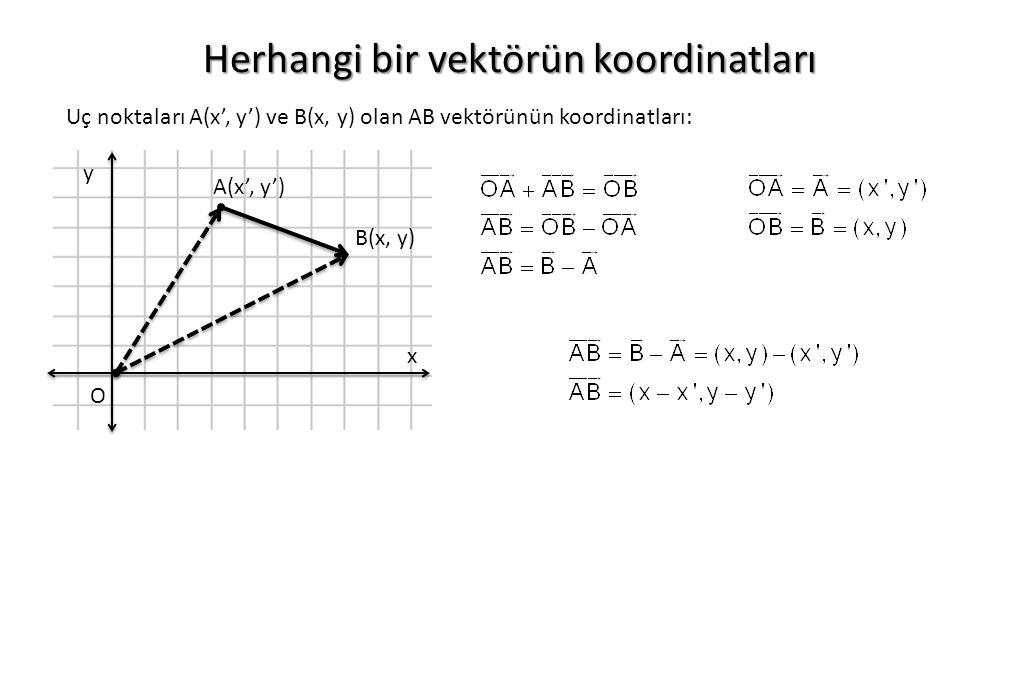 Herhangi bir vektörün koordinatları O x y A(x', y') B(x, y) Uç noktaları A(x', y') ve B(x, y) olan AB vektörünün koordinatları: