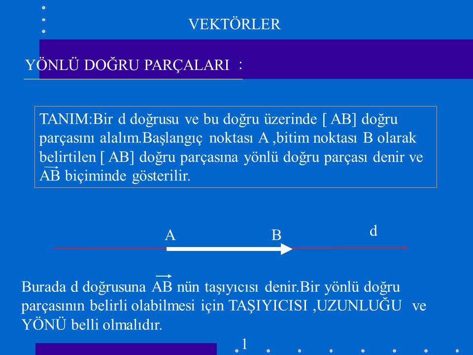 EŞLİK d A B C D k d // k ve AB = CD ise AB = CD dir. 2 UYARI: AB = BA