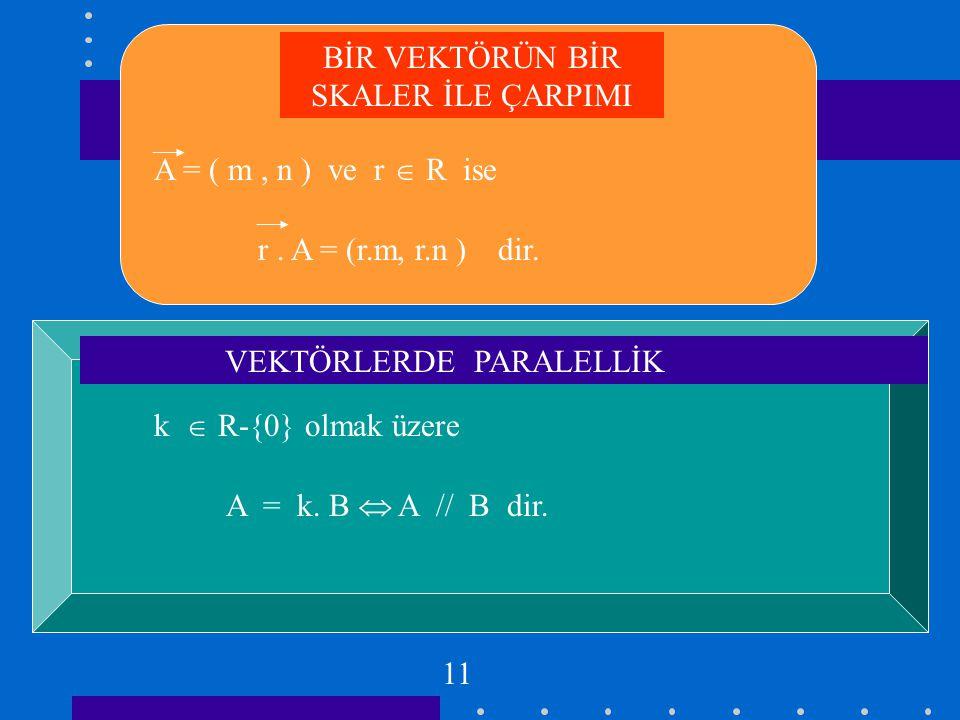 x y O e =(1,0) e= (0,1) 1 2 Uzunluğu 1 birim olan vektöre birim vektör denir.