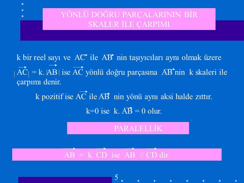 ...A B C D E F V Yönlü doğru parçaları VEKTÖR AB = CD = EF =...