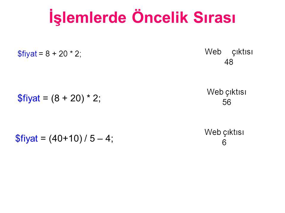 İşlemlerde Öncelik Sırası $fiyat = 8 + 20 * 2; Web çıktısı 48 $fiyat = (8 + 20) * 2; Web çıktısı 56 $fiyat = (40+10) / 5 – 4; Web çıktısı 6