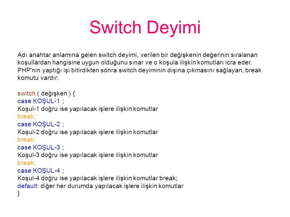 Switch Deyimi Adı anahtar anlamına gelen switch deyimi, verilen bir değişkenin değerinin sıralanan koşullardan hangisine uygun olduğunu sınar ve o koşula ilişkin komutları icra eder.