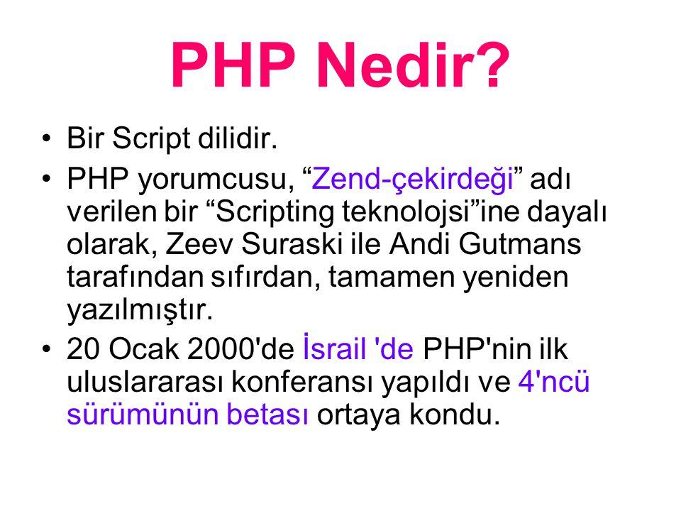 PHP Nedir. Bir Script dilidir.