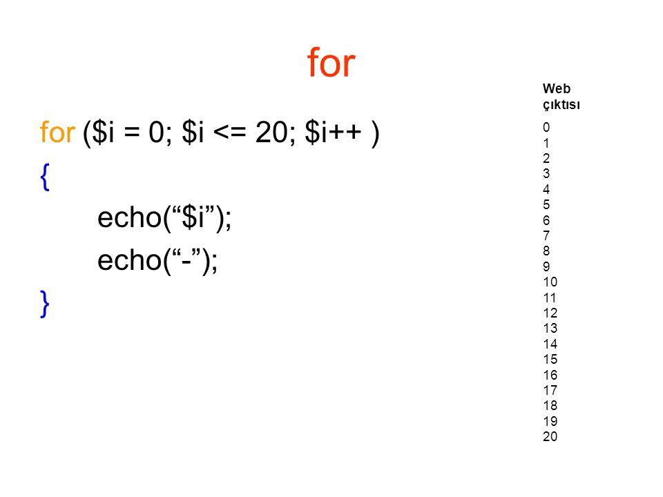 for for ($i = 0; $i <= 20; $i++ ) { echo( $i ); echo( - ); } Web çıktısı 0 1 2 3 4 5 6 7 8 9 10 11 12 13 14 15 16 17 18 19 20