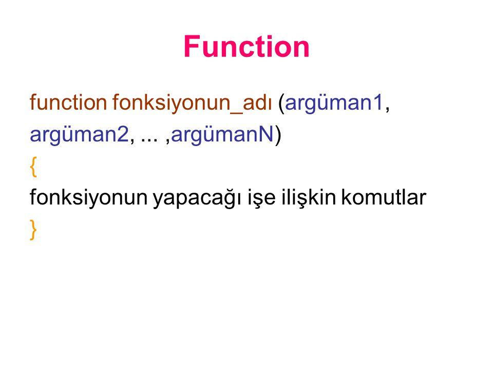 Function function fonksiyonun_adı (argüman1, argüman2,...,argümanN) { fonksiyonun yapacağı işe ilişkin komutlar }