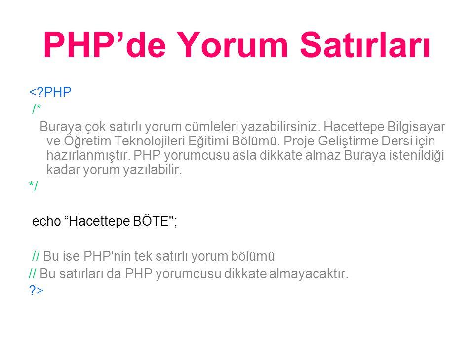 PHP'de Yorum Satırları <?PHP /* Buraya çok satırlı yorum cümleleri yazabilirsiniz.