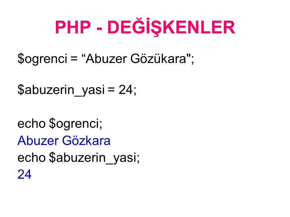 PHP - DEĞİŞKENLER $ogrenci = Abuzer Gözükara ; $abuzerin_yasi = 24; echo $ogrenci; Abuzer Gözkara echo $abuzerin_yasi; 24