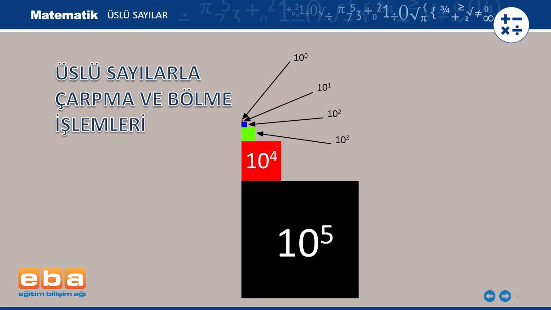 42 ÜSLÜ SAYILAR a) 2 7 : 2 3 = 2 7-3 = 2 4 b) 3 10 3232 = 3 10-2 = 3 8 c) 1 3 25 1 -10 5 : = 5252 5 1 3 1 -10 (5 -2 ) 3 : (5 -1 ) -10 = 5 -6 : 5 10 Bölme işlemlerinin sonuçlarını üslü olarak ifade edelim.
