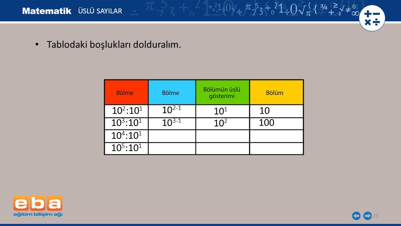 29 ÜSLÜ SAYILAR 10 1 10 2 100 10 3 :10 1 10 4 :10 1 10 5 :10 1 10 2 :10 1 10 10 2-1 10 3-1 Tablodaki boşlukları dolduralım.