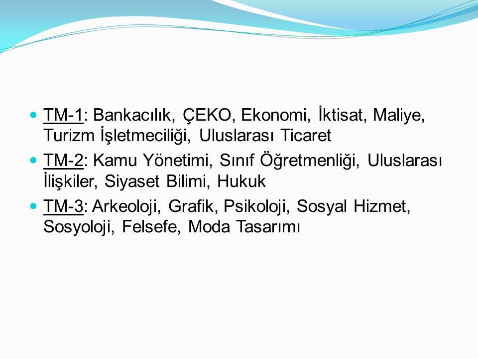 TM-1: Bankacılık, ÇEKO, Ekonomi, İktisat, Maliye, Turizm İşletmeciliği, Uluslarası Ticaret TM-2: Kamu Yönetimi, Sınıf Öğretmenliği, Uluslarası İlişkil