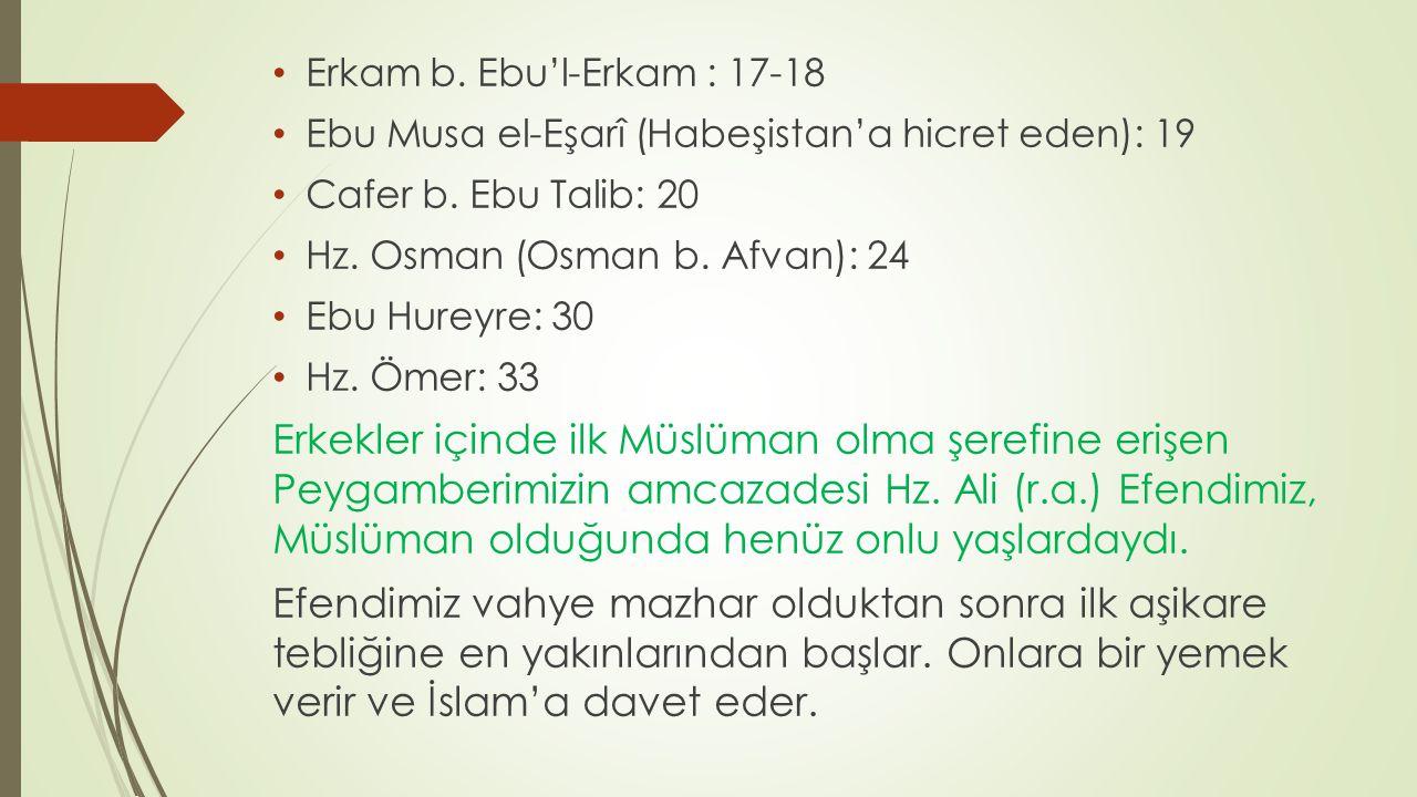 Erkam b. Ebu'l-Erkam : 17-18 Ebu Musa el-Eşarî (Habeşistan'a hicret eden): 19 Cafer b. Ebu Talib: 20 Hz. Osman (Osman b. Afvan): 24 Ebu Hureyre: 30 Hz