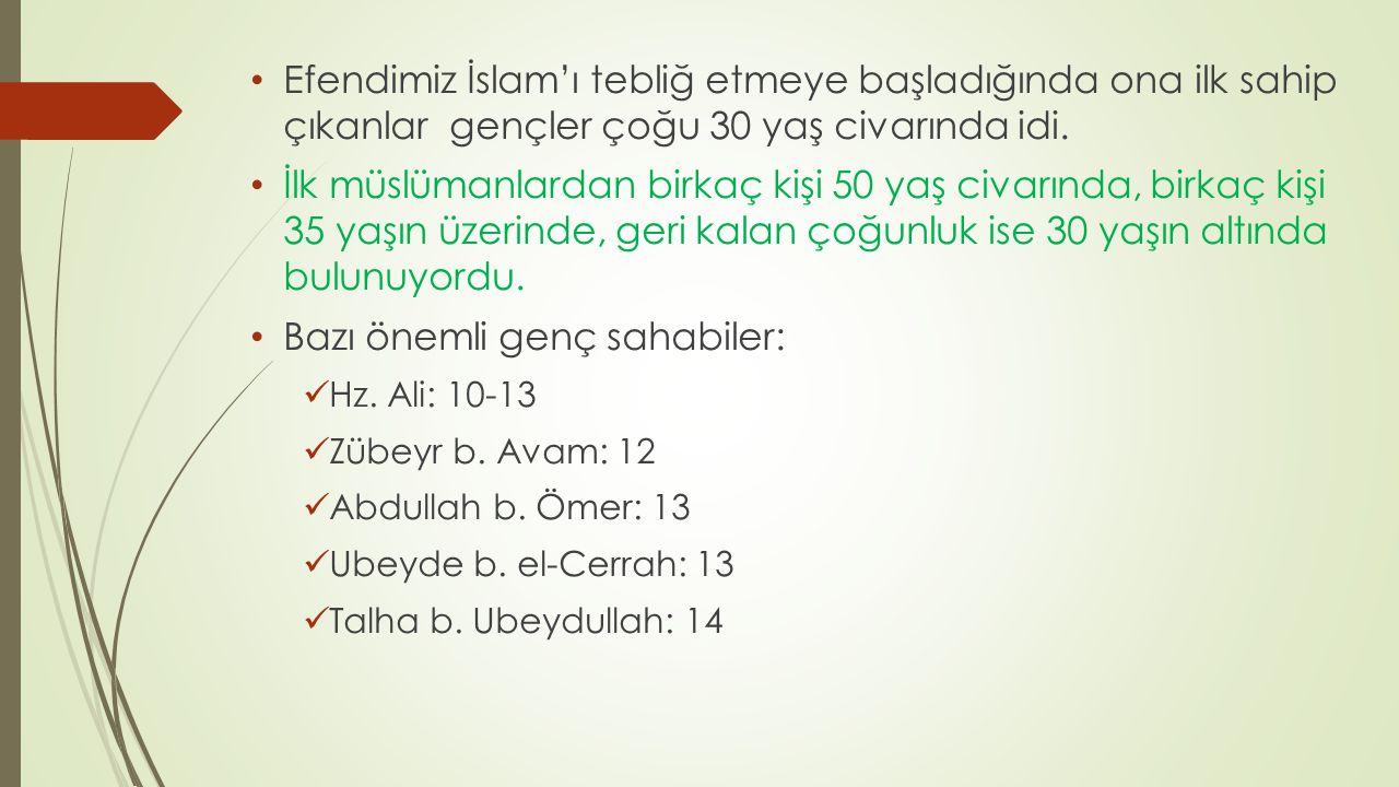 Efendimiz İslam'ı tebliğ etmeye başladığında ona ilk sahip çıkanlar gençler çoğu 30 yaş civarında idi. İlk müslümanlardan birkaç kişi 50 yaş civarında