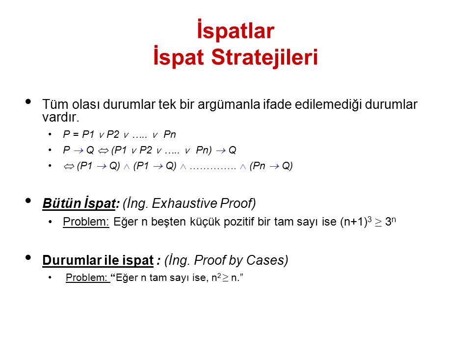 İspatlar İspat Stratejileri Tüm olası durumlar tek bir argümanla ifade edilemediği durumlar vardır. P = P1 ˅ P2 ˅ ….. ˅ Pn P  Q  (P1 ˅ P2 ˅ ….. ˅ Pn