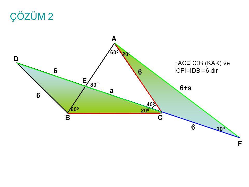 ÇÖZÜM 2 A BC E D 6 6 40 0 60 0 20 0 6 F FAC≡DCB (KAK) ve ICFI=IDBI=6 dır 80 0 a 6+a 6