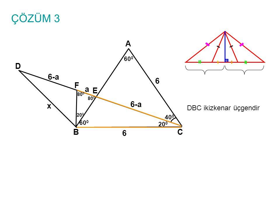 ÇÖZÜM 3 A BC E D 6 x 40 0 60 0 20 0 F 80 0 20 0 DBC ikizkenar üçgendir 6 a 6-a