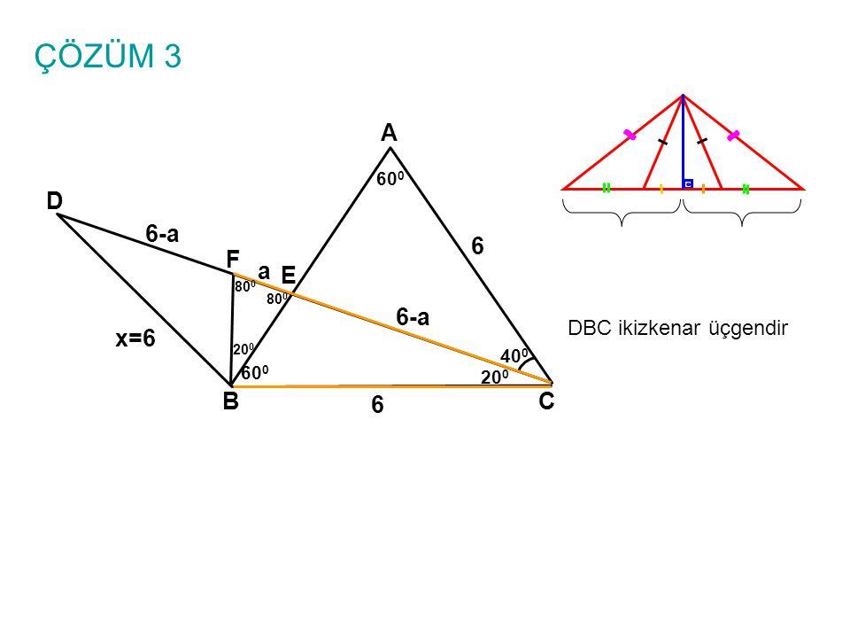 ÇÖZÜM 3 A BC E D 6 x=6 40 0 60 0 20 0 F 80 0 20 0 DBC ikizkenar üçgendir 6 a 6-a