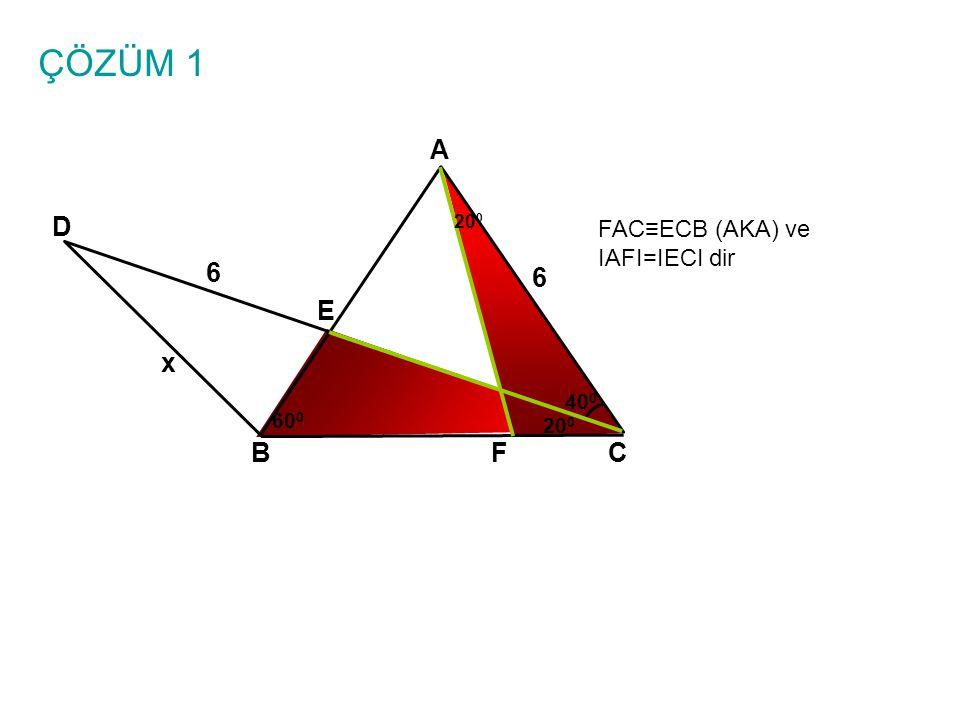 ÇÖZÜM 1 A BC E D 6 6 x 40 0 60 0 20 0 FAC≡ECB (AKA) ve IAFI=IECI dir 20 0 F
