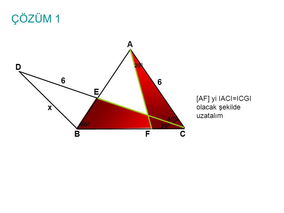 ÇÖZÜM 1 A BC E D 6 6 x 40 0 60 0 20 0 F [AF] yi IACI=ICGI olacak şekilde uzatalım