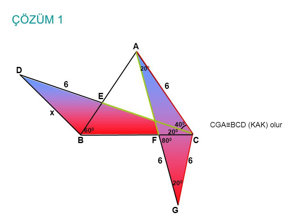 ÇÖZÜM 1 A BC E D 6 6 x 40 0 60 0 20 0 F CGA≡BCD (KAK) olur G 6 80 0 20 0 6