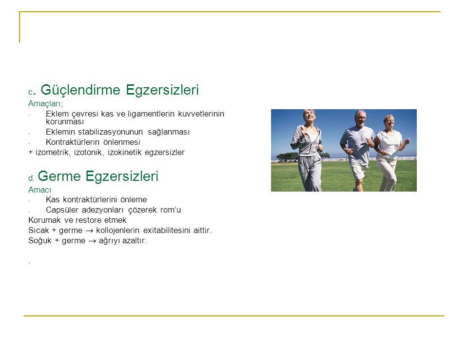 OSTEOARTRİTE KULLANILAN İZOMETRİK EGZERSİZLER; - Üst extremite izometrik egzersizleri - Boyun izometrik egzersizleri - Sırt kasları için izometrik egz