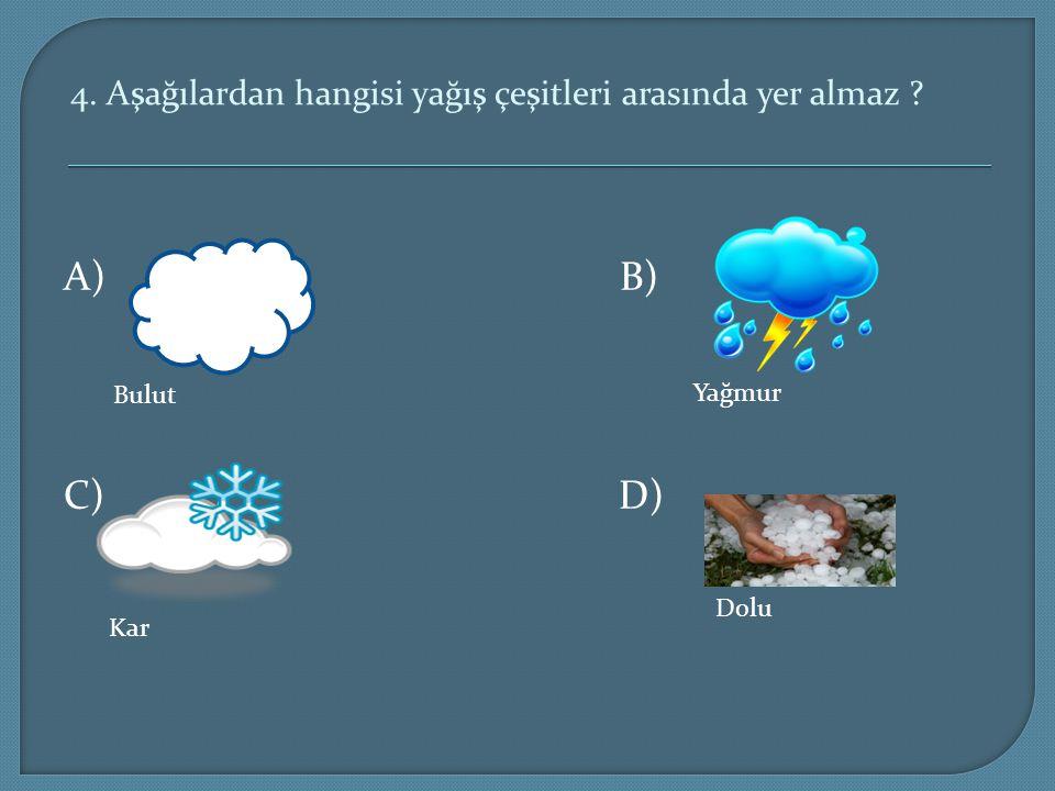 4. Aşağılardan hangisi yağış çeşitleri arasında yer almaz ? A) B) C) D) Bulut Yağmur Kar Dolu