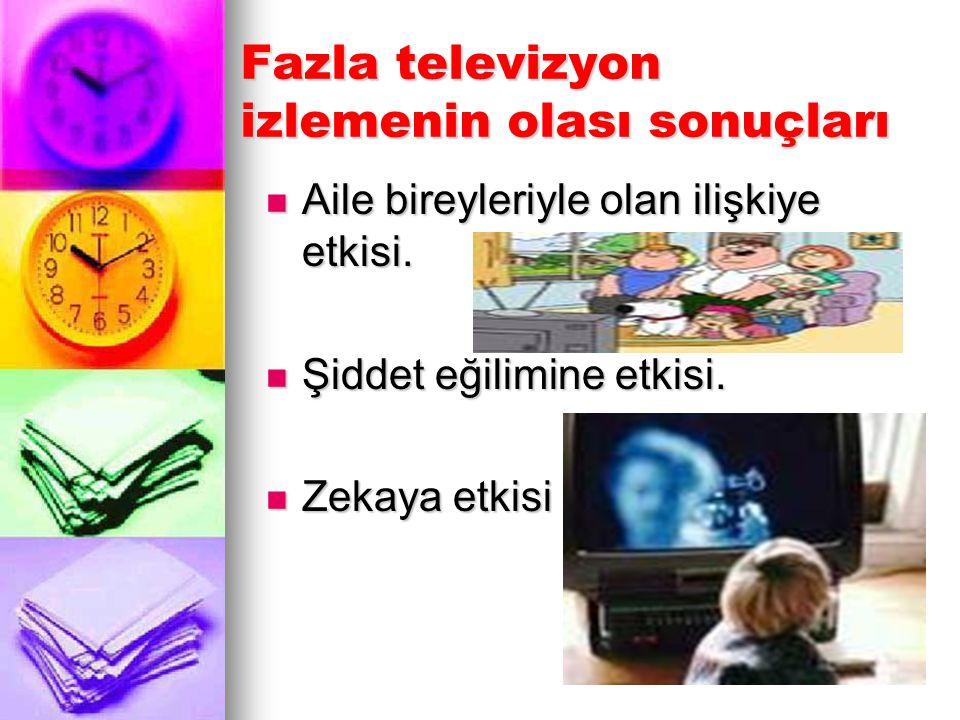 Fazla televizyon izlemenin olası sonuçları Aile bireyleriyle olan ilişkiye etkisi. Aile bireyleriyle olan ilişkiye etkisi. Şiddet eğilimine etkisi. Şi