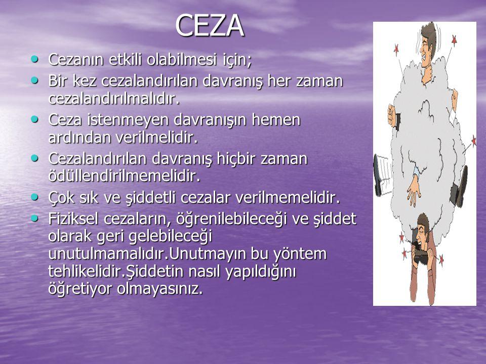 CEZA Cezanın etkili olabilmesi için; Cezanın etkili olabilmesi için; Bir kez cezalandırılan davranış her zaman cezalandırılmalıdır.