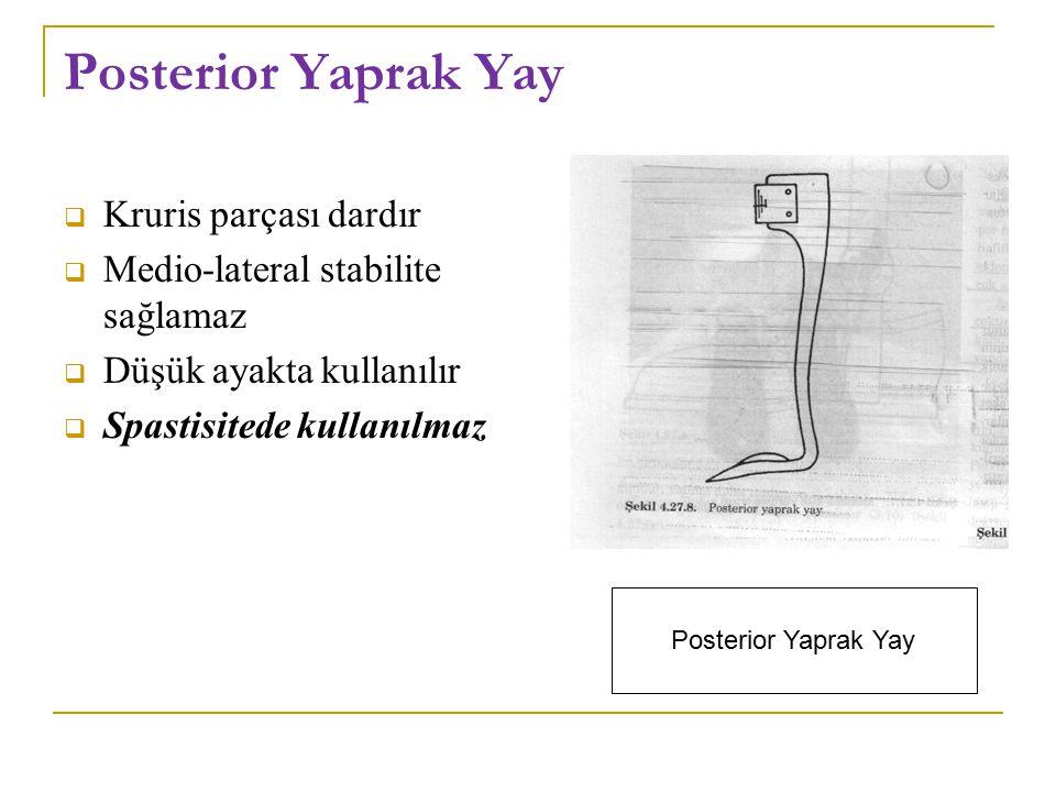 Posterior Yaprak Yay  Kruris parçası dardır  Medio-lateral stabilite sağlamaz  Düşük ayakta kullanılır  Spastisitede kullanılmaz Posterior Yaprak