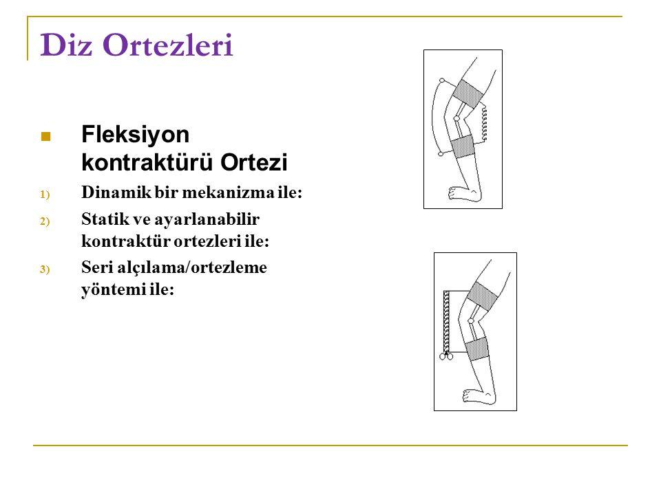 Diz Ortezleri Fleksiyon kontraktürü Ortezi 1) Dinamik bir mekanizma ile: 2) Statik ve ayarlanabilir kontraktür ortezleri ile: 3) Seri alçılama/ortezle