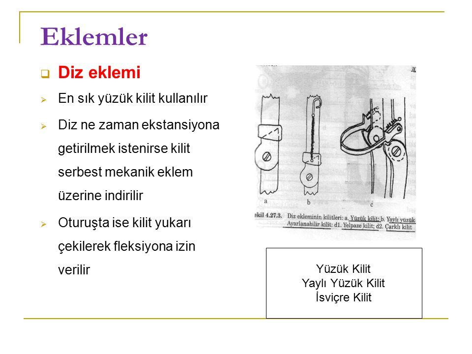 Eklemler  Diz eklemi  En sık yüzük kilit kullanılır  Diz ne zaman ekstansiyona getirilmek istenirse kilit serbest mekanik eklem üzerine indirilir  Oturuşta ise kilit yukarı çekilerek fleksiyona izin verilir Yüzük Kilit Yaylı Yüzük Kilit İsviçre Kilit