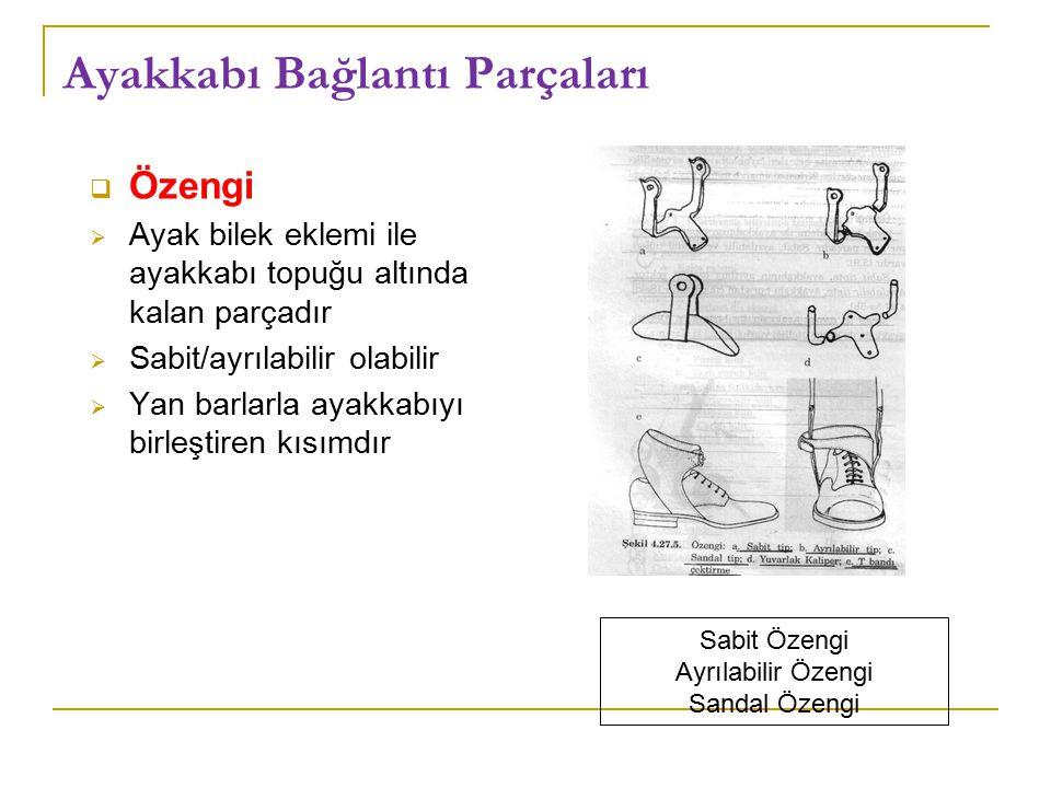 Ayakkabı Bağlantı Parçaları  Özengi  Ayak bilek eklemi ile ayakkabı topuğu altında kalan parçadır  Sabit/ayrılabilir olabilir  Yan barlarla ayakkabıyı birleştiren kısımdır Sabit Özengi Ayrılabilir Özengi Sandal Özengi