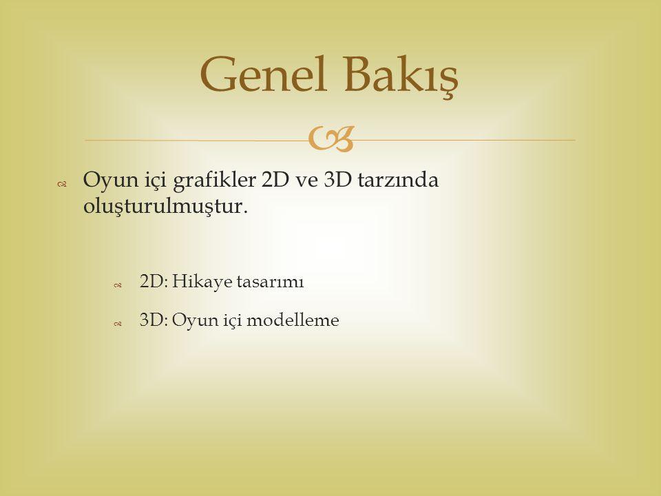   Oyun içi grafikler 2D ve 3D tarzında oluşturulmuştur.  2D: Hikaye tasarımı  3D: Oyun içi modelleme Genel Bakış