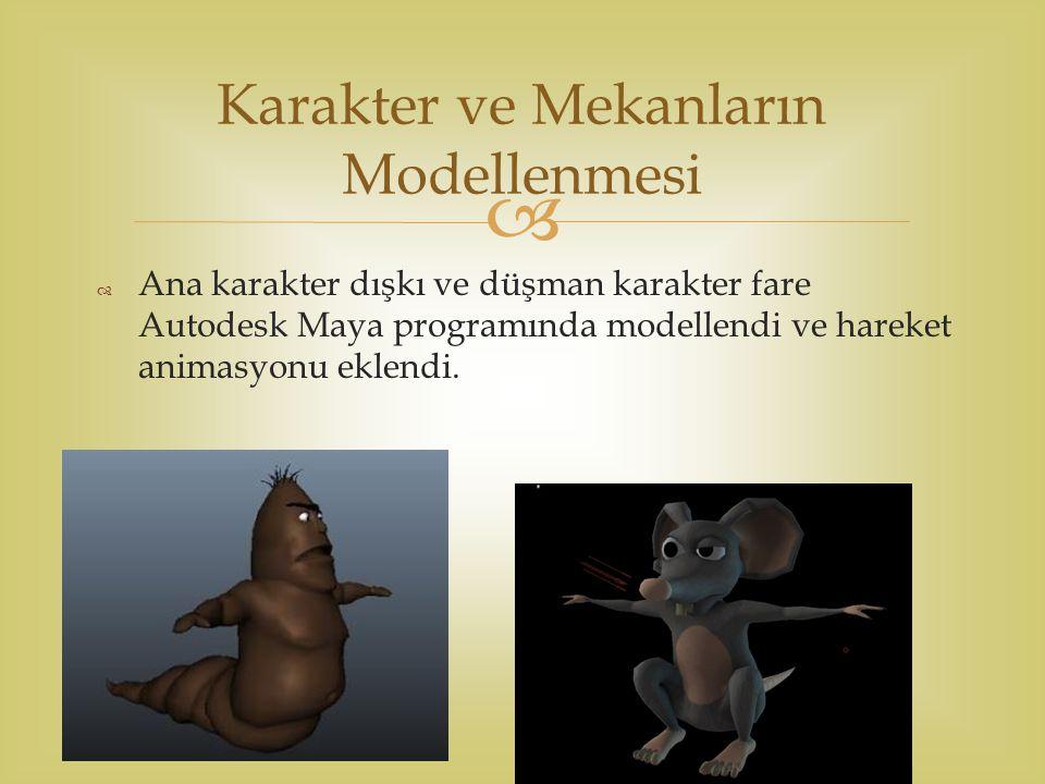   Ana karakter dışkı ve düşman karakter fare Autodesk Maya programında modellendi ve hareket animasyonu eklendi. Karakter ve Mekanların Modellenmesi