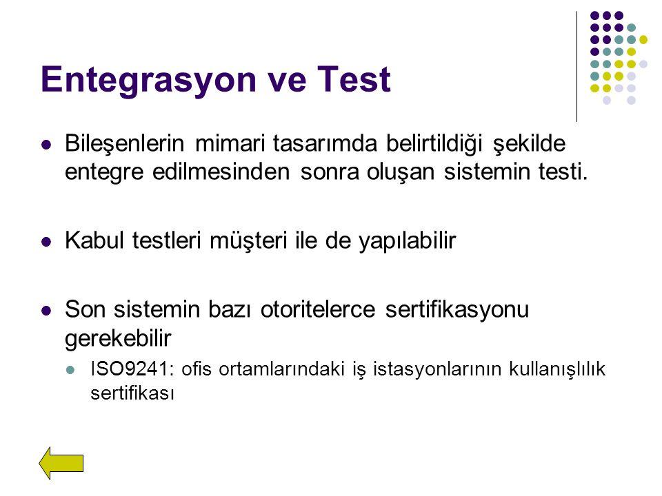 Entegrasyon ve Test Bileşenlerin mimari tasarımda belirtildiği şekilde entegre edilmesinden sonra oluşan sistemin testi. Kabul testleri müşteri ile de