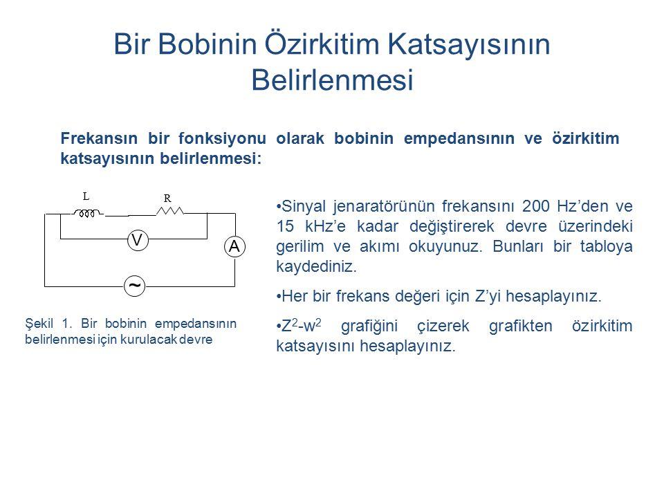 Bir Bobinin Özirkitim Katsayısının Belirlenmesi Frekansın bir fonksiyonu olarak bobinin empedansının ve özirkitim katsayısının belirlenmesi: Sinyal jenaratörünün frekansını 200 Hz'den ve 15 kHz'e kadar değiştirerek devre üzerindeki gerilim ve akımı okuyunuz.
