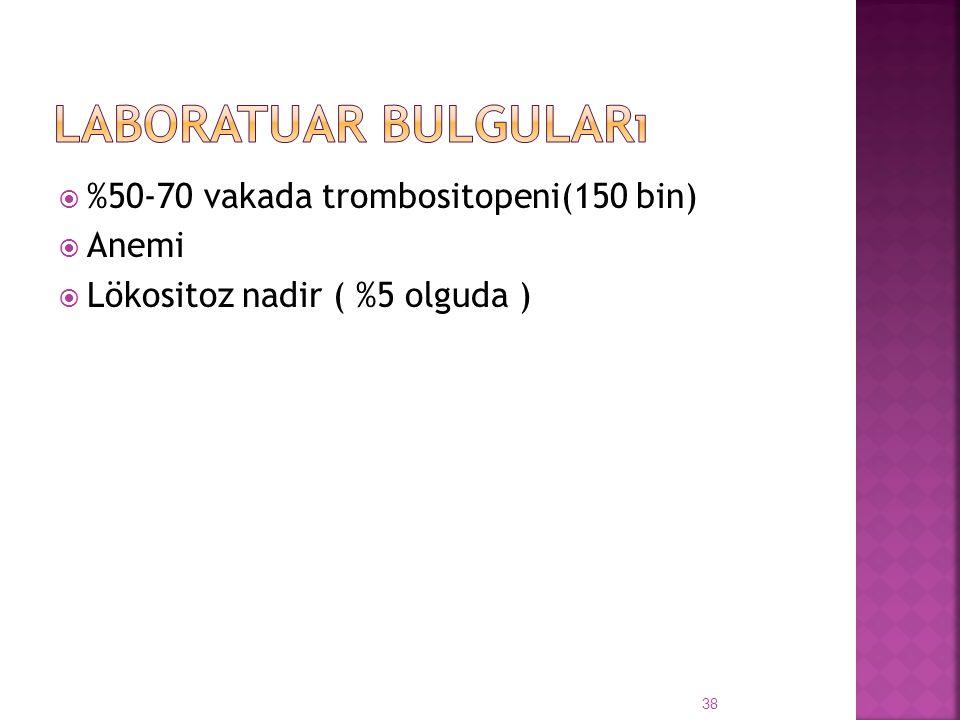  %50-70 vakada trombositopeni(150 bin)  Anemi  Lökositoz nadir ( %5 olguda ) 38