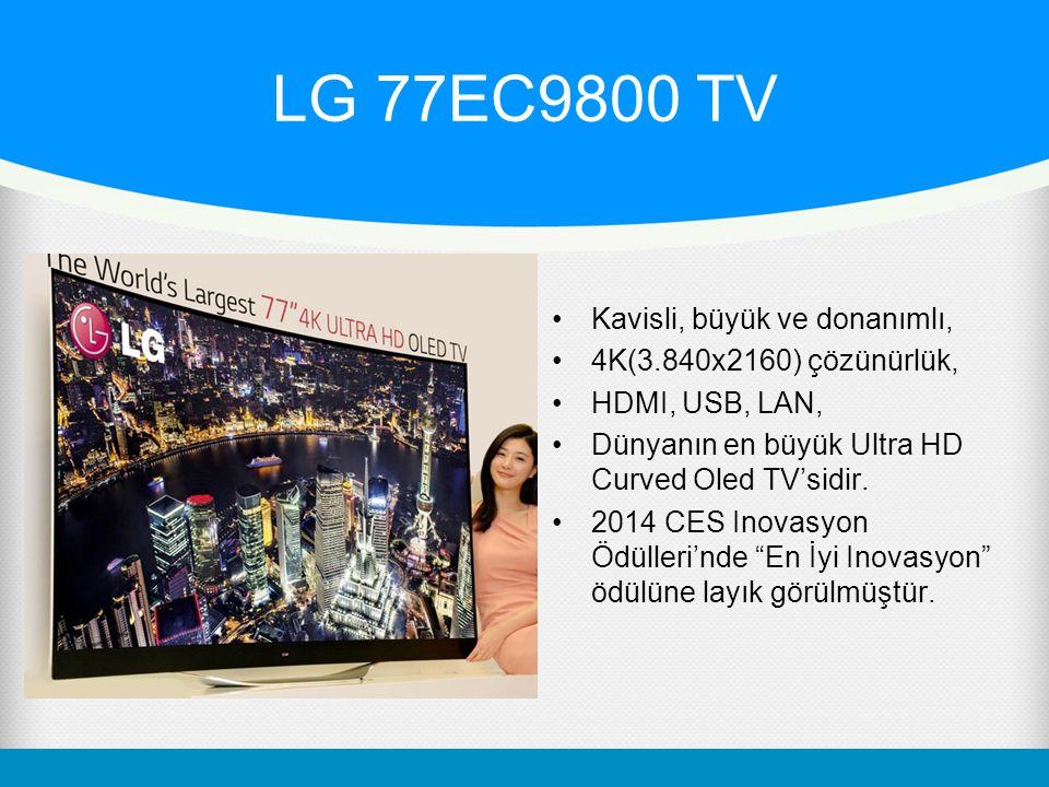 LG 77EC9800 TV Kavisli, büyük ve donanımlı, 4K(3.840x2160) çözünürlük, HDMI, USB, LAN, Dünyanın en büyük Ultra HD Curved Oled TV'sidir.